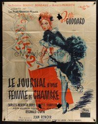 1b043 DIARY OF A CHAMBERMAID French 1p '48 full-length artwork of sexy maid Paulette Goddard!