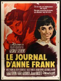 1b044 DIARY OF ANNE FRANK style B French 1p '59 Millie Perkins as Jewish girl, different art!
