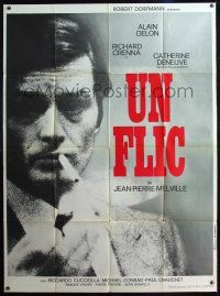 1b046 DIRTY MONEY French 1p '72 Jean-Pierre Melville's Un Flic, close up of smoking Alain Delon!