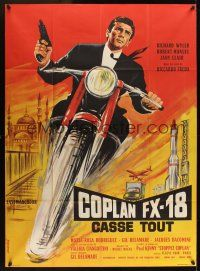 1b051 EXTERMINATORS French 1p '65 cool artwork of French cycle spy Richard Wyler by Xarrie!