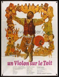 1b054 FIDDLER ON THE ROOF French 1p '71 cool artwork of Topol & cast by Ted CoConis!
