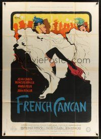 1b060 FRENCH CANCAN style B French 1p '55 Jean Renoir, best art of Moulin Rouge showgirls by Gruau!