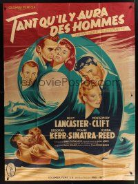 1b061 FROM HERE TO ETERNITY style A French 1p R50s classic art of Burt Lancaster & Deborah Kerr!