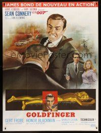 1b062 GOLDFINGER French 1p R70s three great images of Sean Connery as James Bond 007, Mascii art!