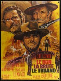 1b063 GOOD, THE BAD & THE UGLY French 1p R70s Clint Eastwood, Lee Van Cleef, Leone, Mascii art!