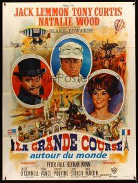 1b066 GREAT RACE style A French 1p '65 art of Tony Curtis, Jack Lemmon & Natalie Wood by Mascii!