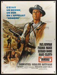 1b078 HOMBRE French 1p '66 Martin Ritt, completely different art of Paul Newman by Boris Grinsson!