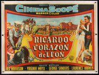 1g005 KING RICHARD & THE CRUSADERS linen Argentinean 43x58 '55 Rex Harrison, Virginia Mayo, Sanders