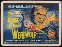 1g154 CURSE OF THE WEREWOLF linen British quad '61 Hammer, art of Oliver Reed as human & monster!