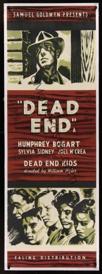 1g006 DEAD END linen English door panel R44 art of Humphrey Bogart & Dead End Kids by Cliford Rowe!
