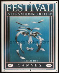 1g020 CANNES FILM FESTIVAL 1988 linen French 1p '88 41st International, cool art by Tibor Tamar!