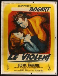 1g024 IN A LONELY PLACE linen French 1p '50 art of Humphrey Bogart & Gloria Grahame by Rene Peron!