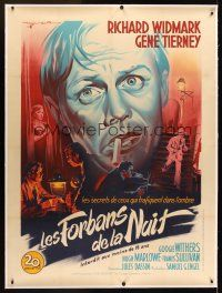 1g030 NIGHT & THE CITY linen French 1p '50 Richard Widmark, Gene Tierney, different art by Soubie!