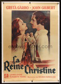 1g034 QUEEN CHRISTINA linen French 1p R40s great different artwork of Greta Garbo & John Gilbert!