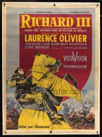 1g036 RICHARD III linen French 1p '55 different art of Laurence Olivier by Roger Soubie!