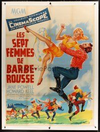 1g038 SEVEN BRIDES FOR SEVEN BROTHERS linen French 1p '55 art of Jane Powell & Keel by Roger Soubie!