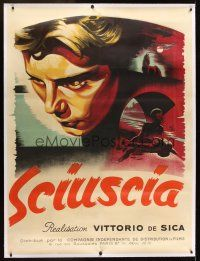 1g039 SHOESHINE linen French 1p '47 Vittorio De Sica's classic Sciuscia, wonderful art by R.V.!