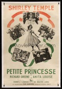 1g017 LITTLE PRINCESS linen French 31x47 '39 full-length image of Shirley Temple + scene montage!