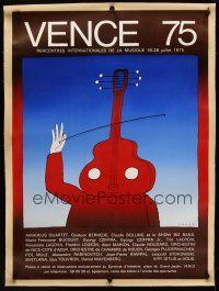 1g073 VENCE 75 linen French 34x47 concert poster '75 orchestra music, cool art by Jean Michel Folon!