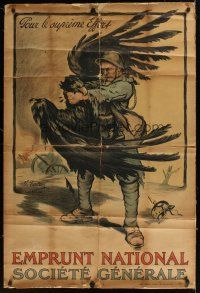 1g077 EMPRUNT NATIONAL SOCIETE GENERALE linen French WWI war poster '18 cool art by Marcel Falter!