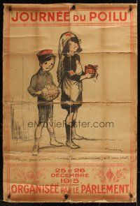 1g078 JOURNEE DU POILU linen French WWI war poster '15 art of orphan & nurse by Francisque Poulbot!