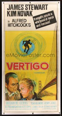 1g003 VERTIGO linen Indian 3sh R80s Hitchcock classic, art of Stewart & Novak by Golden Gate Bridge!