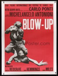 1g047 BLOW-UP linen Italian 1p R70s Michelangelo Antonioni, Hemmings straddles sexy model Verushka!