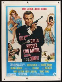 1g052 FROM RUSSIA WITH LOVE linen Italian 1p R70s art of Sean Connery as James Bond with sexy girls!