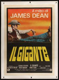 1g053 GIANT linen Italian 1p R83 best image of James Dean reclined in car,directed by George Stevens