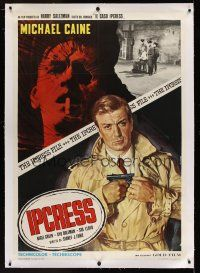 1g057 IPCRESS FILE linen Italian 1p R72 different art of spy Michael Caine by Renato Casaro!