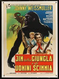1g058 JUNGLE JIM IN THE FORBIDDEN LAND linen Italian 1p '59 Johnny Weissmuller, cool different art!
