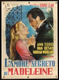 1g059 MADELEINE linen Italian 1p '50 David Lean, Ann Todd murders her lover, different Manno art!!