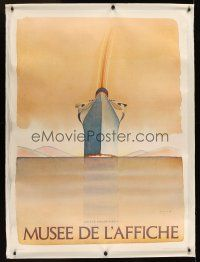 1g074 MUSEE DE L'AFFICHE linen Italian museum poster '78 wonderful art by Jean Michel Folon!