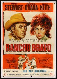 1g064 RARE BREED linen Italian 1p '66 different art of James Stewart & Maureen O'Hara!