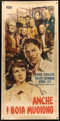 1g002 HANGMEN ALSO DIE linen Italian 3sh '46 Fritz Lang, different art of top stars by Ciriello!