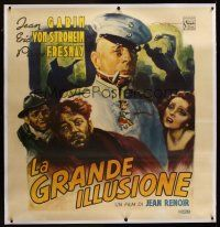 1g001 GRAND ILLUSION linen Italian 53x54 '46 Jean Renoir, wonderful different art by Enrico De Seta!