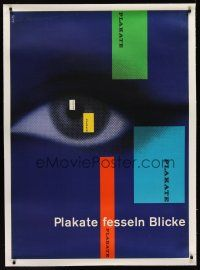 1g071 PLAKATE FESSELN BLICKE linen Swiss 33x46 poster '90s striking eyeball art by Richard Roth!