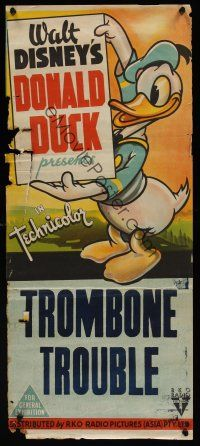 1h048 TROMBONE TROUBLE stock Aust daybill 44 Walt Disney great full-length image of Donald Duck
