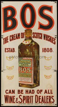 1j032 BOS English advertising poster '30s stone litho of a bottle of the cream of Scotch whiskies!