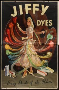 1j030 JIFFY DYES English 80x120 advertising poster '30s incredible colorful art by H.H. Harris!