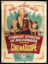 1j016 HOW TO MARRY A MILLIONAIRE linen French 1p '53 Grinsson art of Marilyn Monroe, Grable & Bacall