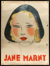 1j019 JANE MARNY linen French 1p '30 great portrait artwork of the actress by Jean Don!