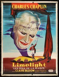 1j018 LIMELIGHT linen French 1p R60s different close up art of crying Charlie Chaplin + on stage!