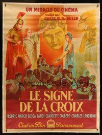 1j017 SIGN OF THE CROSS linen French 1p '47 Cecil B. DeMille, cool different art by Roger Soubie!