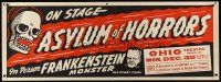 1j045 ASYLUM OF HORRORS Spook Show paper banner '46 the Frankenstein monster on stage in person!