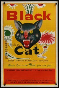 1j051 BLACK CAT FIRECRACKERS special 24x36 '70s really cool oversized label design!