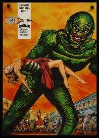 1j050 JIM BEAM & THE CREATURE special 17x23 '70s great Creature From The Black Lagoon art!