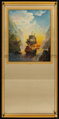 1j044 PORT OF DREAMS calendar sample '40s art of ship sailing into the sunset by H. Hadland!