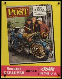 1j060 SATURDAY EVENING POST APRIL 7, 1951 special 22x38 '51 cool Dohanos art of boys & Harley!
