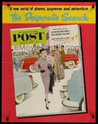1j065 SATURDAY EVENING POST JANUARY 5, 1952 special 22x28 '52 cool art of woman car shopping!